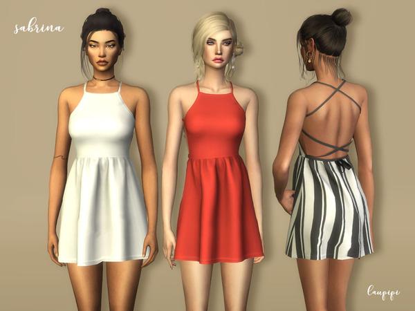 Sims 4 Sabrina dress by laupipi at TSR