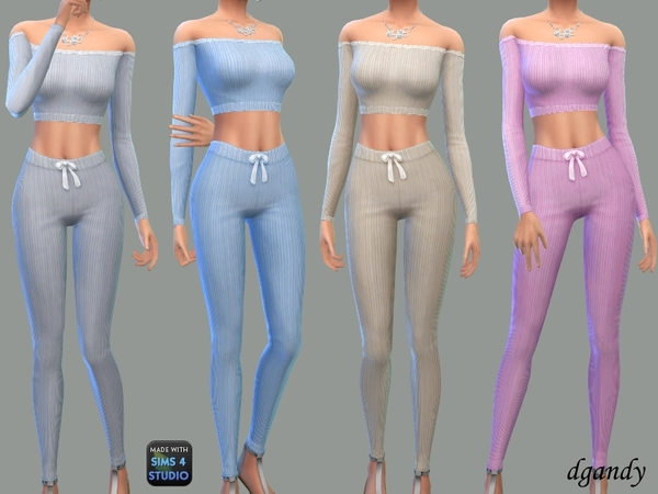 Sims 4 Ribbed Knit Lounge Set by Dgandy at TSR
