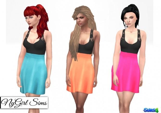 Sims 4 Cutout Lace Tank Flare Dress at NyGirl Sims