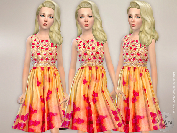 Dress with Floral Appliques by lillka at TSR image 614 Sims 4 Updates