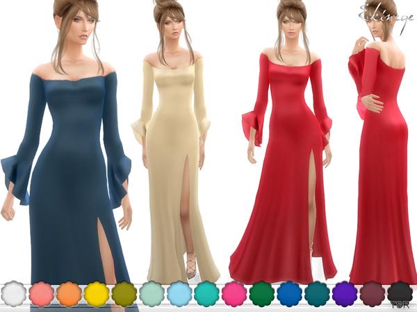 Long Sleeve Ruffle Cuff Dress by ekinege at TSR image 6411 Sims 4 Updates