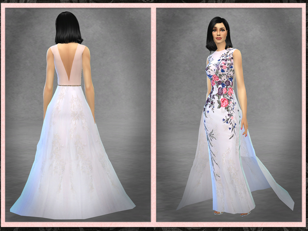 Sims 4 GH Beaded Floral Gown with Train by Five5Cats at TSR
