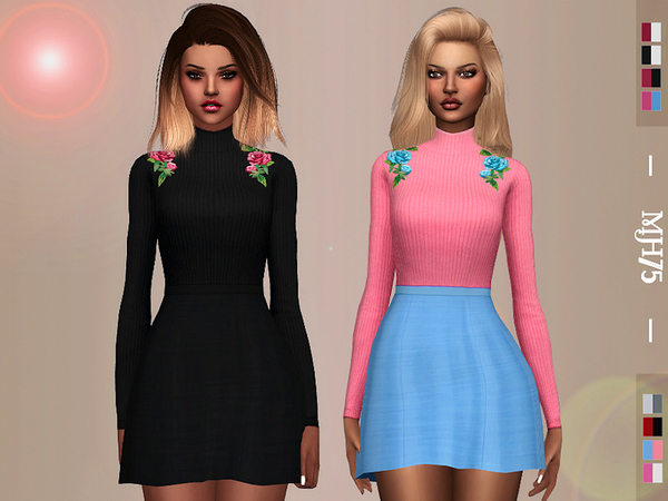 Sims 4 Boohoo Rose Skater Dress by Margeh 75 at TSR