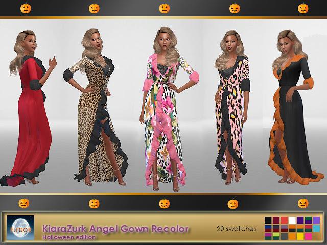 Sims 4 KiaraZurk Angel Gown Recolor at Elfdor Sims