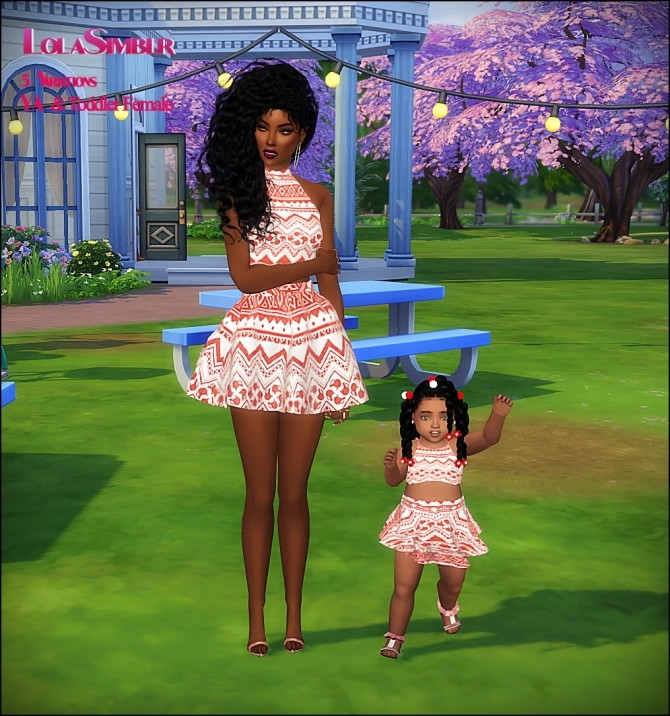 Sims 4 5 Mommy and me matching outfits at The Beautiful Sims of Color
