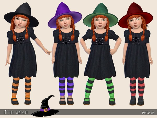 Sims 4 Little Witch dress by Paogae at TSR