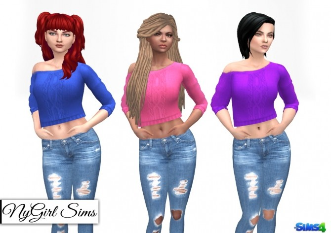 Sims 4 Off Shoulder Cable Knit Crop Sweater at NyGirl Sims