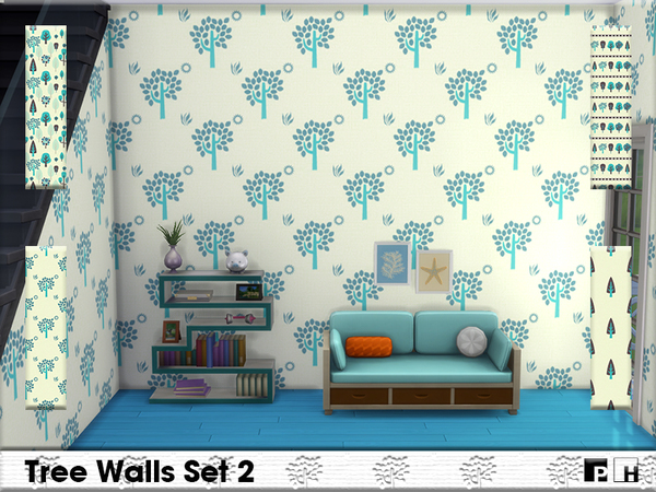 Sims 4 Tree Walls Set 2 by Pinkfizzzzz at TSR