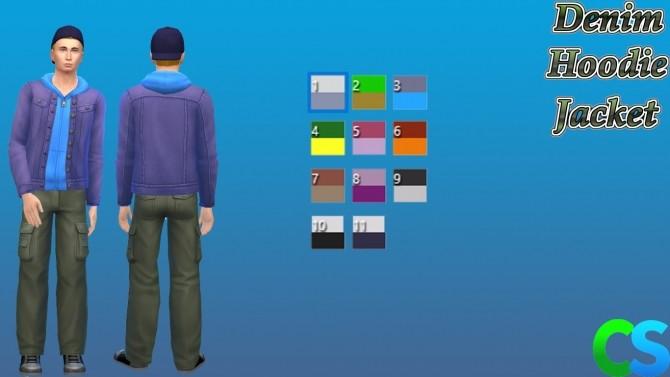 Sims 4 Denim Hoodie Jacket by cepzid at SimsWorkshop