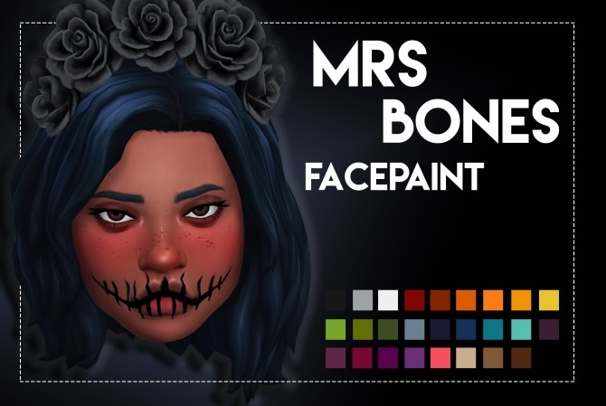 Mrs Bones Facepaint by Weepingsimmer at SimsWorkshop image 84 670x449 Sims 4 Updates