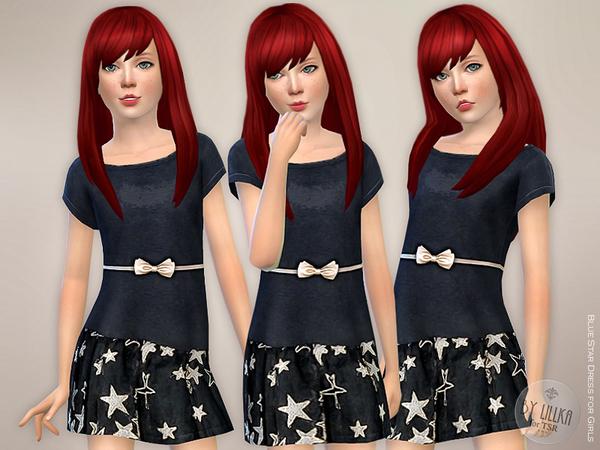 Sims 4 Blue Star Dress by lillka at TSR