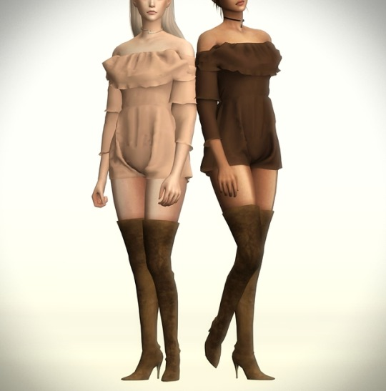 Sims 4 Ruffle Bell Sleeve Playsuit RECOLOR by simblrdearie at SimsWorkshop
