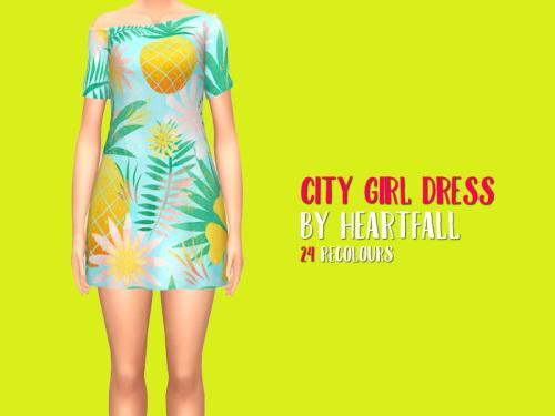 Sims 4 City Girl Dress by heartfall at SimsWorkshop
