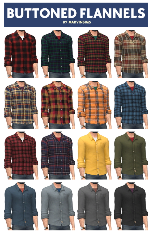 Buttoned Flannels & Undershirts at Marvin Sims image 9811 Sims 4 Updates