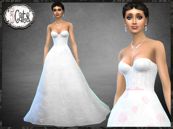 Strapless Rose Wedding Gown by Five5Cats at TSR image 9816 Sims 4 Updates