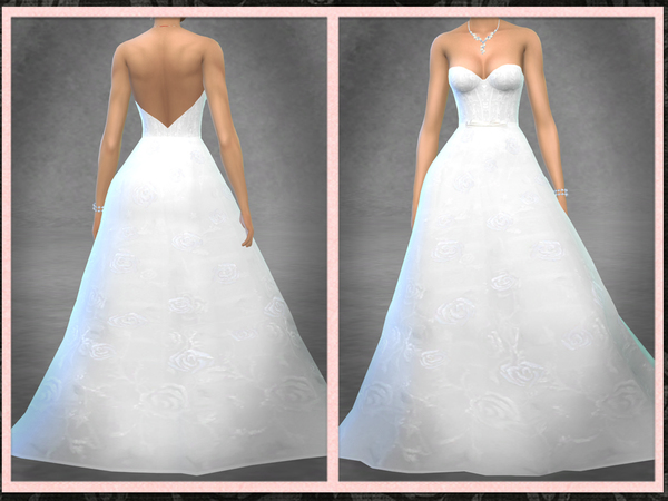 Strapless Rose Wedding Gown by Five5Cats at TSR image 9914 Sims 4 Updates