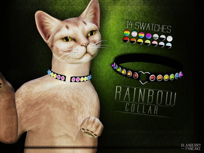 Sims 4 Rainbow collar for cats at Blahberry Pancake