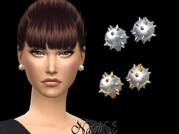 Sims 4 Spiked Stud Pearl Earrings by NataliS at TSR