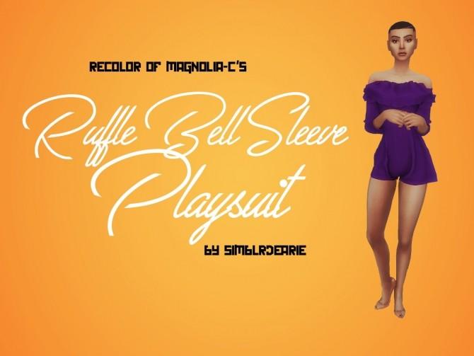 Sims 4 Magnolia C's Ruffle Bell Sleeve Playsuit RECOLOR at Meraki – simblrdearie