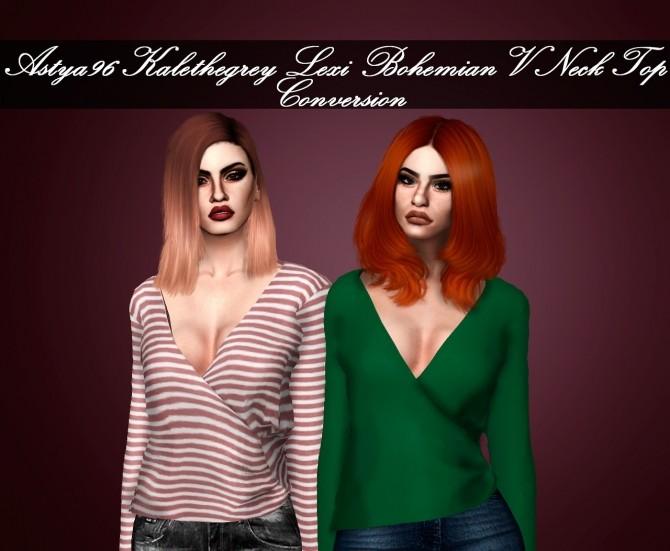 Sims 4 Kalethegrey Lexi Bohemian VNeck Top Conversion at Astya96