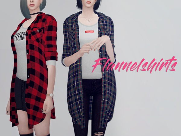 Long flannel shirts F by KKs at TSR image 1129 Sims 4 Updates