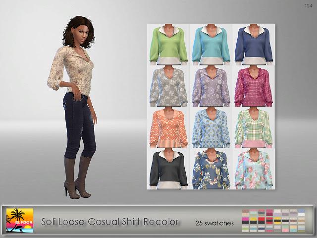 Soli Loose Casual Shirt Recolor at Elfdor Sims image 1148 Sims 4 Updates