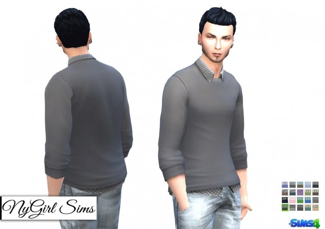 Patterned Button Up with Sweater at NyGirl Sims image 11510 670x473 Sims 4 Updates