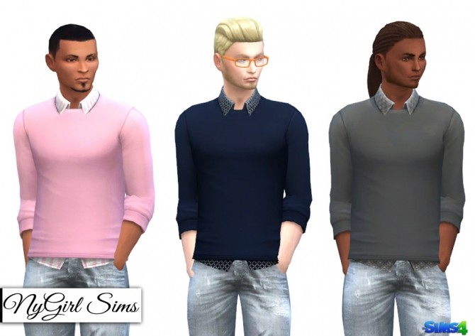Patterned Button Up with Sweater at NyGirl Sims image 11610 670x473 Sims 4 Updates