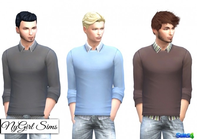 Patterned Button Up with Sweater at NyGirl Sims image 1178 670x473 Sims 4 Updates