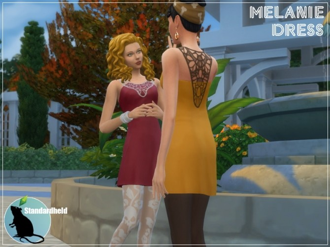 Sims 4 Recolor of Simplesimmers Melanie dress by Standardheld at SimsWorkshop