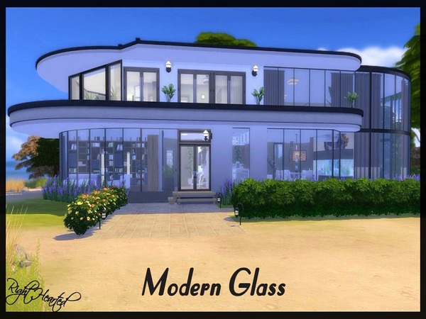 Modern Glass house by RightHearted at TSR image 1300 Sims 4 Updates