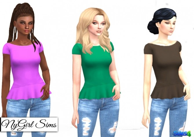 Sims 4 Scoop Neck Flare Tee at NyGirl Sims