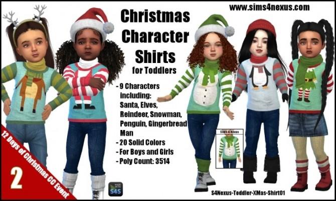 Sims 4 Christmas Character Shirts by SamanthaGump at Sims 4 Nexus
