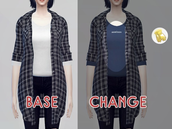 Long flannel shirts F by KKs at TSR image 1326 Sims 4 Updates
