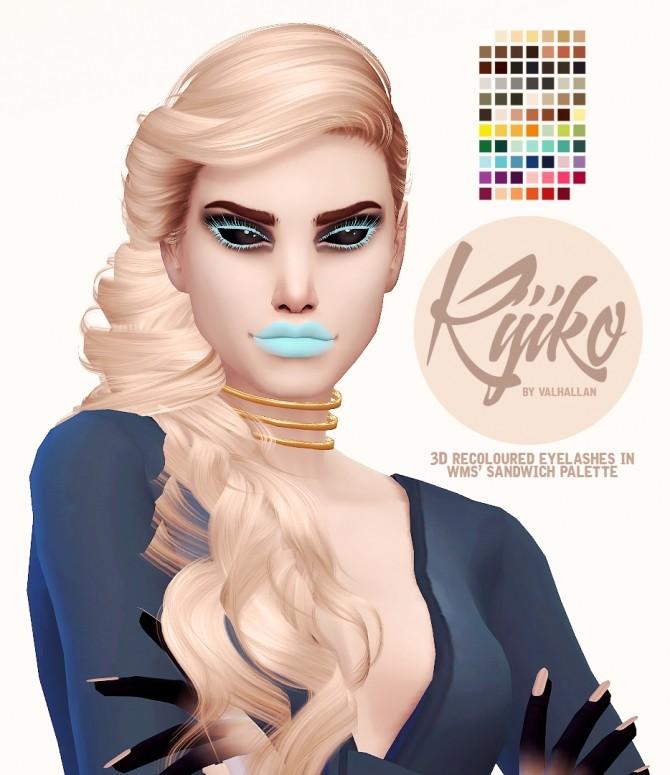 Sims 4 Kijiko recoloured 3D eyelashes at Valhallan