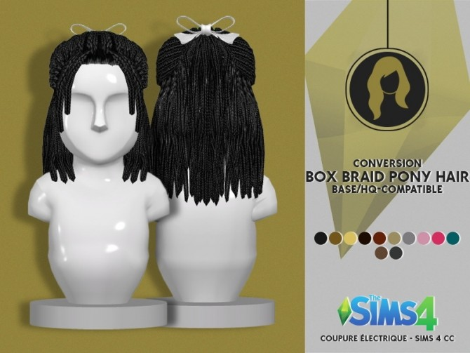 BOX BRAID PONY HAIR at Coupure Electrique image 1333 670x503 Sims 4 Updates