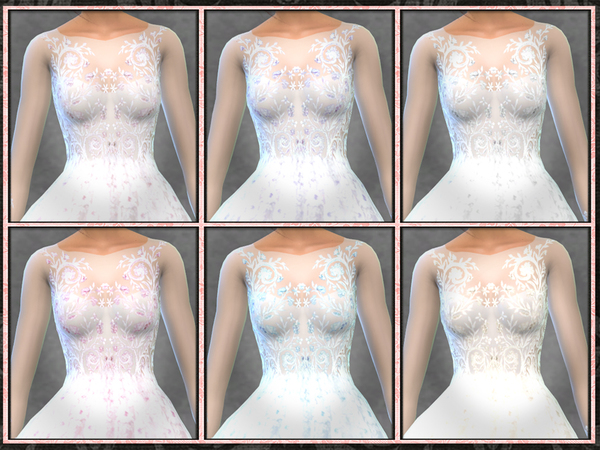 Sims 4 GH Beaded Floral Embellished Bridal Gown by Five5Cats at TSR