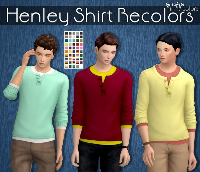 EP04 Henley Shirt Recolors at Tukete image 13611 670x576 Sims 4 Updates