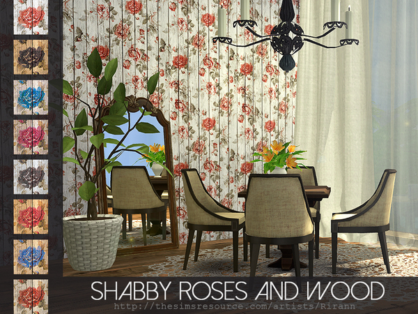 Shabby Roses And Wood Wall by Rirann at TSR image 1480 Sims 4 Updates