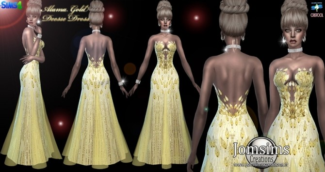 Alama gold deesse dress at Jomsims Creations image 1485 670x355 Sims 4 Updates
