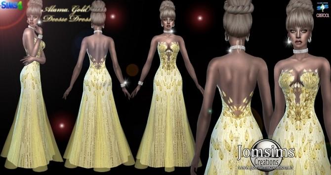 Sims 4 Alama gold deesse dress at Jomsims Creations