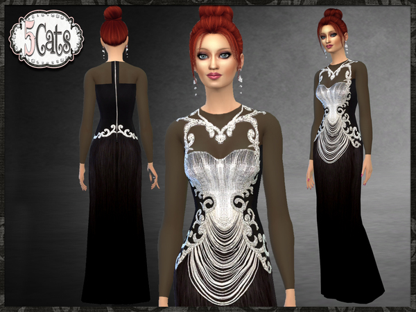 Sims 4 Long Sleeve Embellished Long Dress by Five5Cats at TSR
