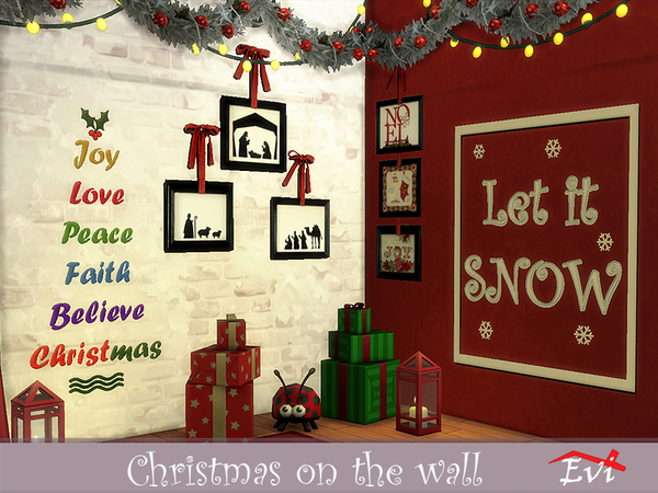 Sims 4 Christmas on the wall stickers by evi at TSR