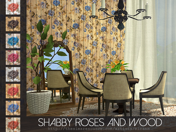 Shabby Roses And Wood Wall by Rirann at TSR image 1570 Sims 4 Updates