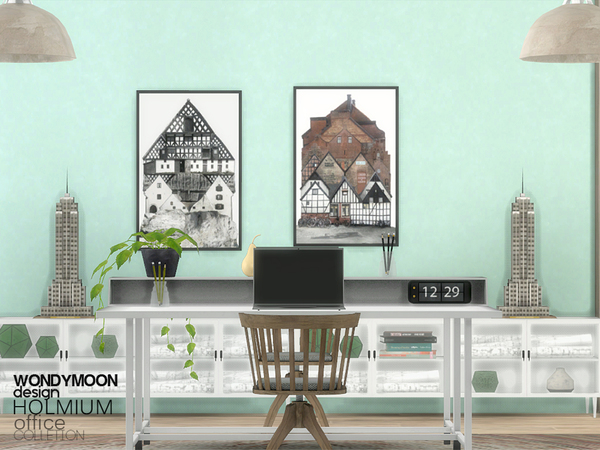 Holmium Office by wondymoon at TSR image 1627 Sims 4 Updates