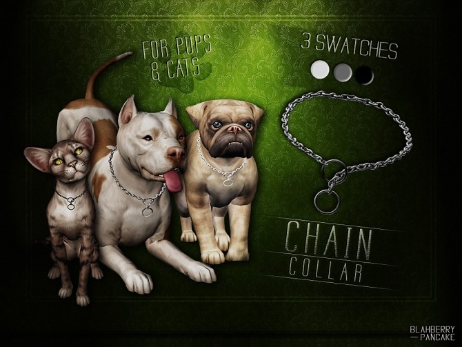 Sims 4 Chain collar for pups and cats at Blahberry Pancake