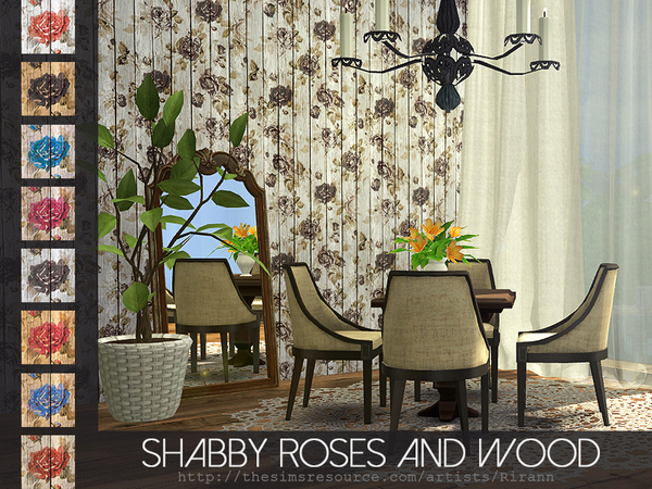 Shabby Roses And Wood Wall by Rirann at TSR image 1660 Sims 4 Updates