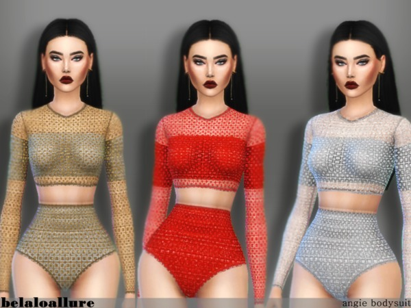 Sims 4 Angie bodysuit by belaloallure at TSR
