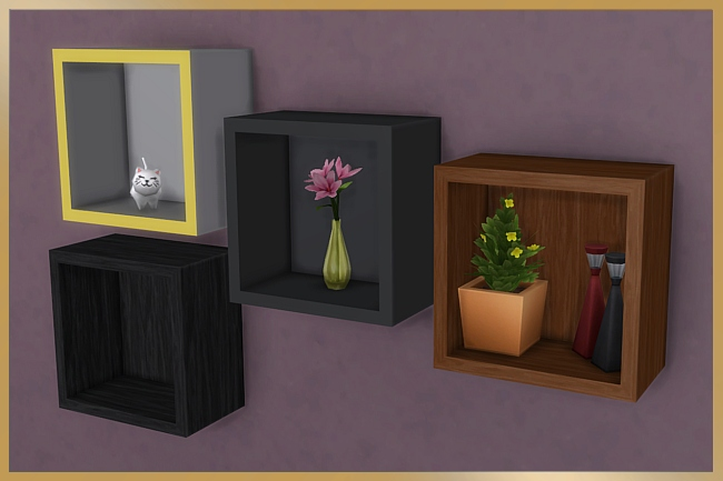 Sims 4 Cube shelves by Cappu at Blacky's Sims Zoo