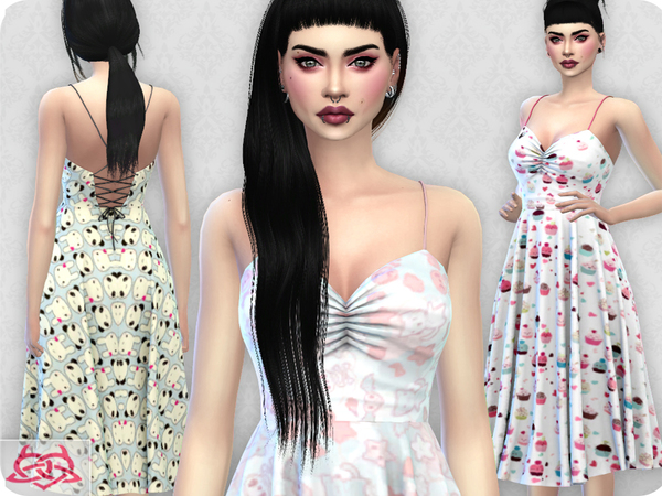 Sims 4 Claudia dress RECOLOR 4 by Colores Urbanos at TSR